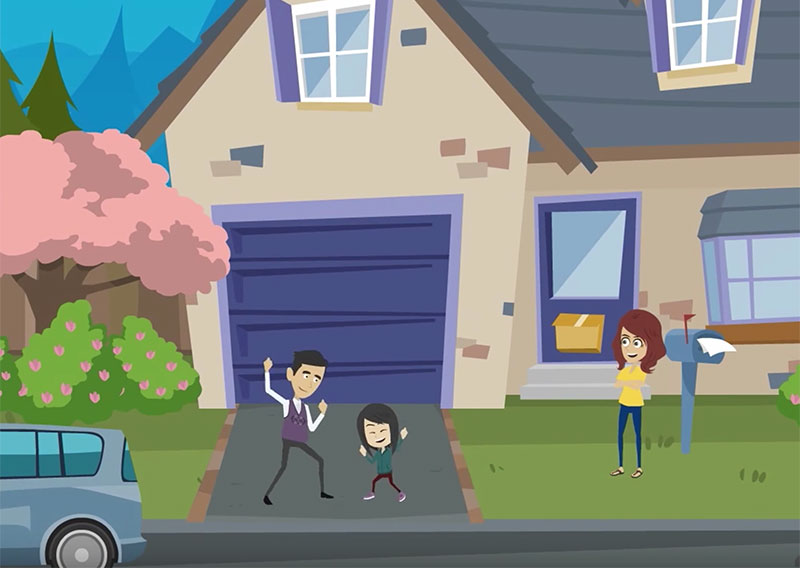 Cartoon of family in front of home